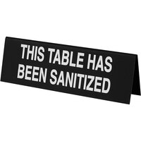 Cal-Mil 22139-62 6 inch x 2 inch Black This Table Has Been Sanitized Table Tent Sign