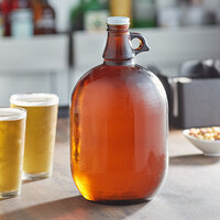 Acopa 128 oz. Amber Growler with Cap