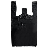 1/8 Size .511 Mil Black Heavy-Duty T-Shirt Bag   - 1000/Case