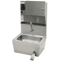 Advance Tabco 7-PS-82 Hands Free Hand Sink with Knee Valve and Soap and Towel Dispenser - 17 1/4 inch