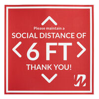 12 inch x 12 inch Red Social Distancing Floor Decal with WebstaurantStore Logo - 5/Pack