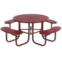 Wabash Valley SG150D Signature Series 46 inch Round Diamond Pattern Portable Plastisol Coated Steel Mesh Outdoor Umbrella Table with 4 Attached Seats