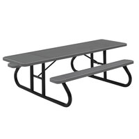 Wabash Valley SG115D Signature Series 96 3/8 inch x 30 3/8 inch ADA Accessible Diamond Pattern Portable Plastisol Coated Steel Mesh Outdoor Picnic Table