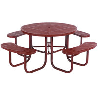 Wabash Valley SG150P Signature Series 46 inch Round Perforated Portable Plastisol Coated Steel Mesh Outdoor Umbrella Table with 4 Attached Seats