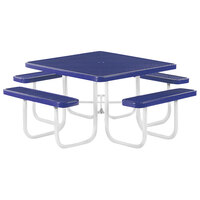 Wabash Valley SG140D Signature Series 46 inch Square Diamond Pattern Portable Plastisol Coated Steel Mesh Outdoor Umbrella Table with 4 Attached Seats