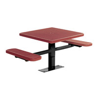 Wabash Valley SG213P Signature Series 30 inch Square Perforated Surface-Mount Plastisol Coated Steel Mesh Outdoor Umbrella Table with 2 Attached Bench Seats