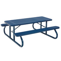 Wabash Valley SG111P Signature Series 96 3/8 inch x 30 3/8 inch Perforated Portable Plastisol Coated Steel Mesh Outdoor Picnic Table