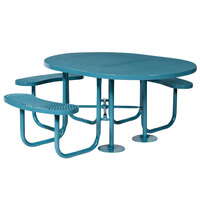 Wabash Valley SG151D Signature Series 46 inch Oval ADA Accessible Diamond Pattern Portable Plastisol Coated Steel Mesh Outdoor Umbrella Table with 3 Attached Seats