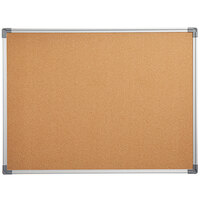 Dynamic by 360 Office Furniture 48 inch x 36 inch Wall-Mount Cork Board with Aluminum Frame