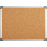 Dynamic by 360 Office Furniture 24 inch x 18 inch Wall-Mount Cork Board with Aluminum Frame