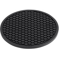 Valor 6 3/4 inch Round Heat-Resistant Black Silicone Trivet