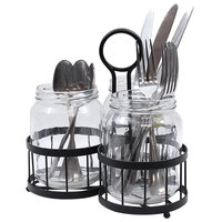 Tablecraft MJRB3 Farmhouse Collection 4-Piece Black Metal Mason Jar Flatware Caddy / Organizer with 22 oz. Jars with Metal Holder