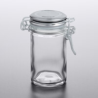 Tablecraft 10106 2 oz. Glass Condiment Jar with Stainless Steel Lid and Bail and Trigger Closure