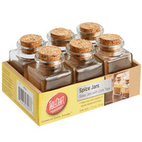 Tablecraft H92004 1.75 oz. Glass Condiment Jar with Cork Top   - 6/Pack