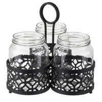Tablecraft MJRM3 Farmhouse Collection 4-Piece Black Patterned Metal Mason Jar Flatware Caddy / Organizer with 22 oz. Jars