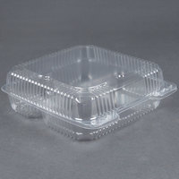 Durable Packaging PXT-933 Duralock 9 inch x 9 inch x 3 inch Three Compartment Clear Hinged Lid Plastic Container - 200/Case