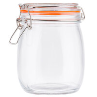 Tablecraft 10366 25 oz. Glass Jar with Lid and Bail and Trigger Closure