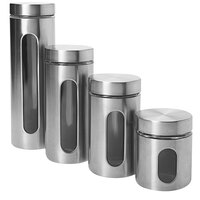 Anchor Hocking 97564 Palladian 8 Piece Brushed Stainless Steel Cylinder Set - 2/Set