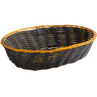 Vollrath 47208 9 inch x 6 1/4 inch x 2 3/8 inch Oval Black and Gold Vinyl Rattan Basket - 12/Case