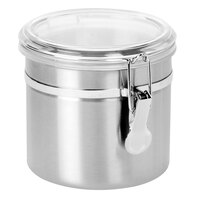 Anchor Hocking 98583 38 oz. Round Stainless Steel Canister with Clear Lid