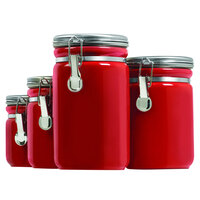 Anchor Hocking 03923RED Red 8 Piece Ceramic Canister Set with Stainless Steel Lids - 2/Set