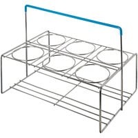 Carlisle CW6C38 Perma-Sil Chrome-Plated Stainless Steel 6-Cylinder Flatware Carrier with Insulated Handle