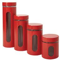 Anchor Hocking 97561 Palladian 8 Piece Red Stainless Steel Cylinder Set - 2/Set