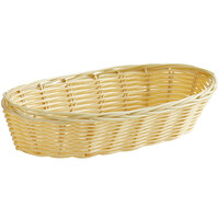 Vollrath 47204 9 inch x 3 1/2 inch x 2 inch Oblong Natural-Colored Plastic Rattan Basket - 12/Case
