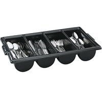 Vollrath 52653 Signature Black Polyethylene 4-Compartment Cutlery Box