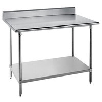 Advance Tabco KAG-364 36 inch x 48 inch 16 Gauge Stainless Steel Commercial Work Table with 5 inch Backsplash and Galvanized Undershelf