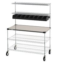 Metro CR2448DSS Drive-Thru Order Staging Prep Cart with Wire Shelving - 49 3/4 inch x 27 3/4 inch x 65 3/4 inch