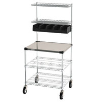 Metro CR2430DSS Drive-Thru Order Prep Station with Stainless Steel Shelving - 31 3/4 inch x 27 3/4 inch x 65 3/4 inch