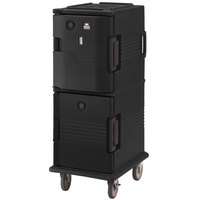 Cambro UPCHT8002110 Black Ultra Camcart Two Compartment Heated Holding Pan Carrier with Casters, Top Compartment Heated - 220V (International Use Only)