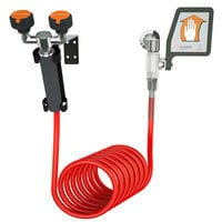 Guardian Equipment G5014 Wall Mounted Eyewash Station with 12' Coiled Drench Hose and Flag Handle