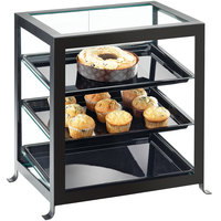 Cal-Mil 1575-13 Soho Three Tier Black Display Case with Rear Doors - 21 1/4 inch x 15 3/4 inch x 20 3/4 inch
