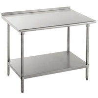 """Advance Tabco FMG-364 36"""" x 48"""" 16 Gauge Stainless Steel Commercial Work Table with Undershelf and 1 1/2"""" Backsplash"""