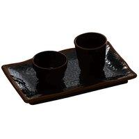 Tenmoku Black 11 1/4 inch x 7 1/4 inch Rectangular Melamine Wave Plate - 12 / Pack