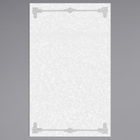 8 1/2 inch x 14 inch Black Menu Paper - Scroll Border - 100/Pack