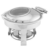 Walco CH6QTRD Champion 6 Qt. Round Stainless Steel Glass Top Chafer with Porcelain Insert