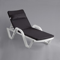 Lancaster Table & Seating White Stacking Adjustable Resin Chaise with Black Cushion and Pillow