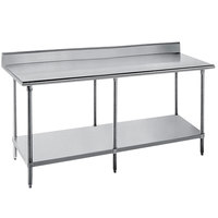 Advance Tabco SKG-3612 36 inch x 144 inch 16 Gauge Super Saver Stainless Steel Commercial Work Table with Undershelf and 5 inch Backsplash
