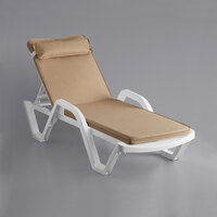 Lancaster Table & Seating White Stacking Adjustable Resin Chaise with Beige Cushion and Pillow