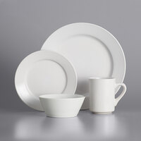 Acopa Bright White Wide Rim Rolled Edge Dinnerware Set with Service for 12 - 48/Pack