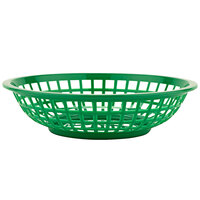 GET RB-820-G 8 inch x 2 inch Round Green Plastic Fast Food Basket - 12/Pack