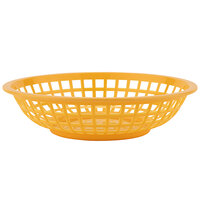 GET RB-820-Y 8 inch x 2 inch Round Yellow Plastic Fast Food Basket - 12/Pack