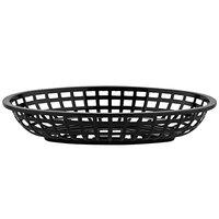 GET OB-938-BK 9 1/2 inch x 6 inch x 2 inch Oval Black Plastic Fast Food Basket - 12/Pack
