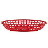 GET OB-938-R 9 1/2 inch x 6 inch x 2 inch Oval Red Plastic Fast Food Basket - 12/Pack