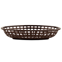 GET OB-938-BR 9 1/2 inch x 6 inch x 2 inch Oval Brown Plastic Fast Food Basket - 12/Pack