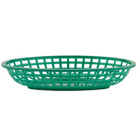 GET OB-938-G 9 1/2 inch x 6 inch x 2 inch Oval Green Plastic Fast Food Basket - 12/Pack