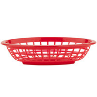 GET OB-734-R 8 inch x 5 1/2 inch x 2 inch Oval Red Plastic Fast Food Basket - 12/Pack